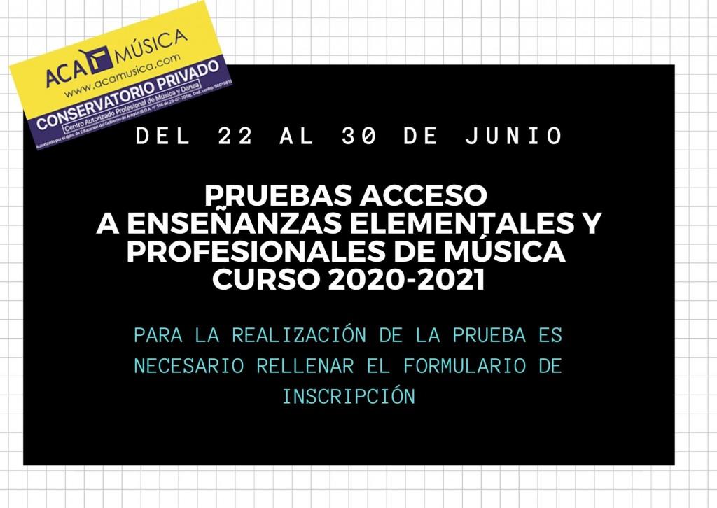FECHAS PRUEBAS DE ACCESO A ELEMENTAL Y PROFESIONAL DE MÚSICA