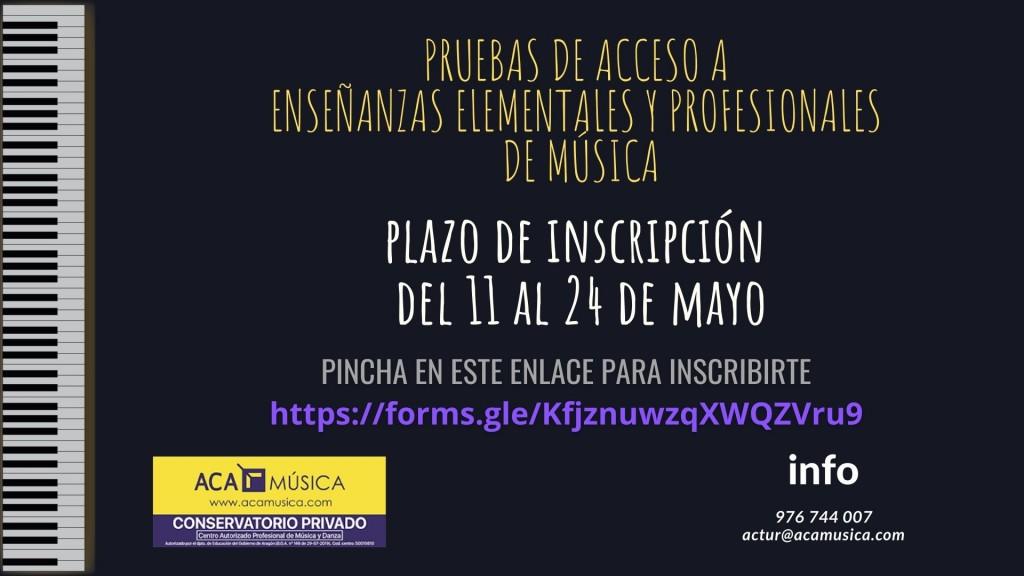 PLAZO PARA LAS PRUEBAS DE ACCESO A ELEMENTAL Y PROFESIONAL DE MÚSICA