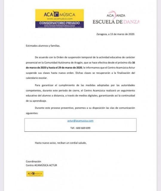 SUSPENSIÓN TEMPORAL DE CLASES